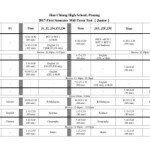 第一学期期中考 考试时间表 (初中) First Semester Mid-Term Test Exam Timetable (Junior)