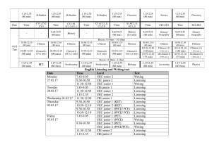 第一学期期中考 考试时间表 senior 2