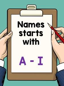 Names A - I