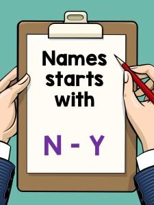 Names N - Y