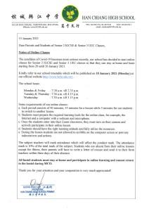 Notice - Graduation Class online teaching on 20 Jan 2021 - 150121 English