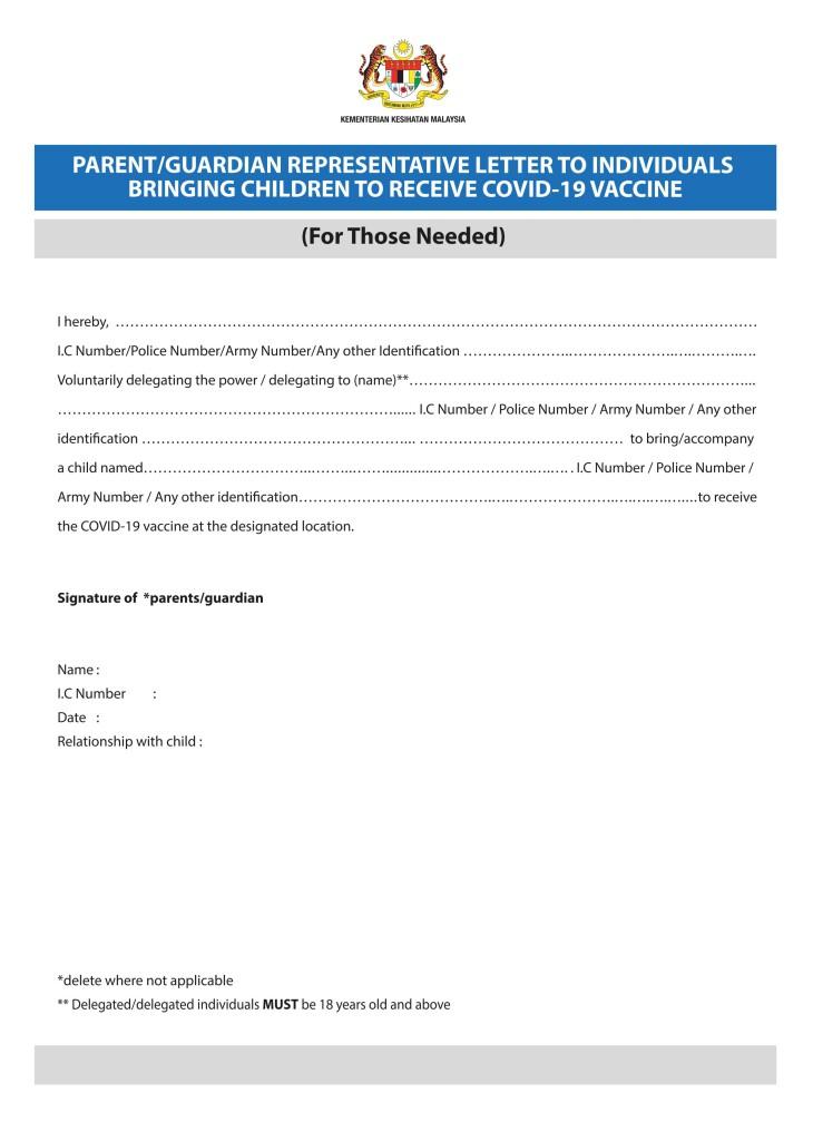 PARENTSORGURADIANREPRESENTATIVELETTERTOBRINGING CHILDRENTORECEIVECOVID-19VACINE